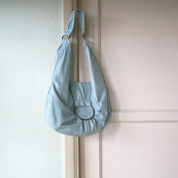 Baby Blue Shoulder Bag; Faux Leather - Vegan Shoulder Bag - Robins Egg Blue Purse - Medium Shoulder Bag