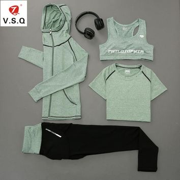 V.S.Q Breathable women Yoga Set workout Gym Clothes letter print Sports Bra+zipper hooded jacket+leggings tracksuits for women