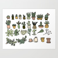 Succulents Art Print by doucettedesigns