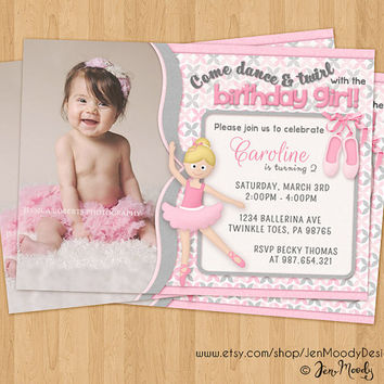 Ballerina Birthday Invite, Dance Party Invitation with Photo - Printable, Digital, Custom, Dancer, Slippers, Toes, Twirl, Tutu