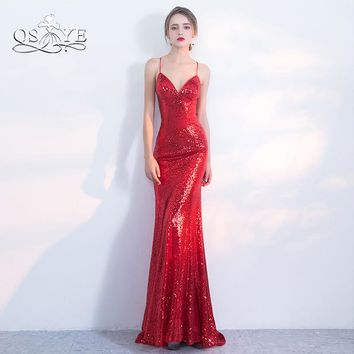 Sparking Red Sequins Long Mermaid Prom Dresses 2018 Spaghetti Straps Sweetheart Sexy Backless Formal Evening Dress Party Gown
