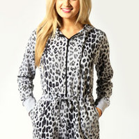 Lucia Short Legged Hooded Leopard Onesuit