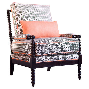 Taylor Burke Home, Gregg Lounge Chair, Mocha/Persimmon, Accent & Occasional Chairs
