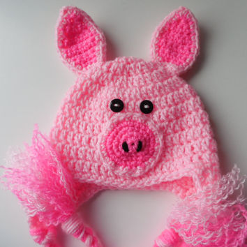 Pig Crochet Set -  Baby Hat - Diaper Cover - Booties - Set - Pink and Hot Pink - Handmade - Crochet - Made to Order