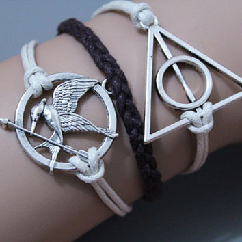 Harry Potter the Deathly Hallows,Yoga symbol bracelet,Bridesmaid gifts,Friendship gift