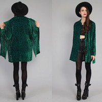 Vtg 80s Green Silk Burnour Velvet Sheer Duster Jacket Tunic Dress M
