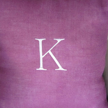 Burlap Pillow: Initial embroidery Letter K  Pillow, in and out pillow 20inch sguare pillow