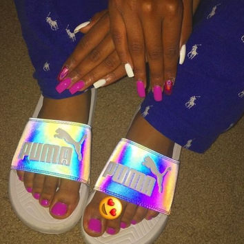 simpleclothesv:PUMA: Fashion Chameleon Reflective Sandal Slipper Shoes