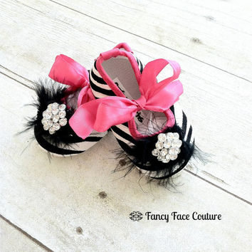 Zebra Baby Girl Shoes Little Girls Crib Shoes Ballet Slippers Soft Sole Vintage Crystal Hot Pink Newborn-Infant Children- Baby Shower Gift