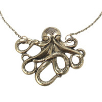 LOVEsick Burnished Gold Octopus Necklace
