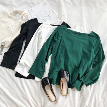 Mooirue Summer Autumn Tumblr Korean Tee Tee Shirt Square Thin Thin Solid Long Solid Color New Arrivals Loose Pullovers