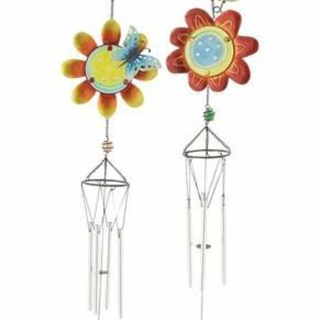 Benzara Colorful Glass Metal Wind Chime 2 Assorted