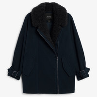 Monki | Jackets & coats | Coat with faux shearling collar
