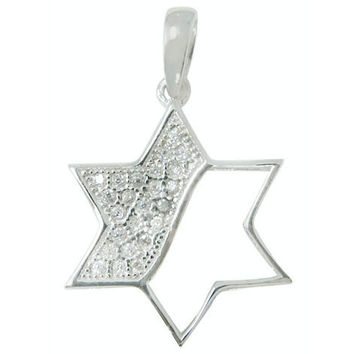 Silver & Gold Star of David Stone Pendant Necklace