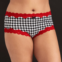 Houndstooth Print Lace Trim Cheeky Panty