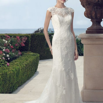 Casablanca Bridal 2148 Illusion Neckline Lace Mermaid Wedding Dress