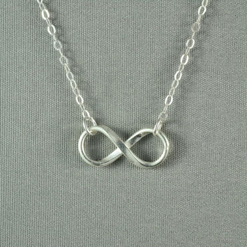 Forever LOVE INFINITY Necklace Fine Silver by WonderfulJewelry