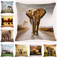 Fashion Style Cotton Linen Almofadas Elephant Printed Cojines Home Decor Sofa Throw Pillow High Quality Square Cushion