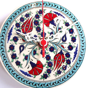Wall Clock with Anatolian Tulip and Carnation  flowers patterns,Ceramic Turkish tile.2012