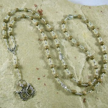 Athena Prayer Bead Necklace in Greywood: Greek Goddess of Wisdom, Weaving and War