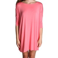 Pink Piko Tunic Half Sleeve Dress