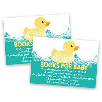Rubber Ducky Bring a Book Baby Shower Card Insert - Books for Baby DIY Printable - Rubber Duckie Book Insert - Aqua Teal Blue -  Instant