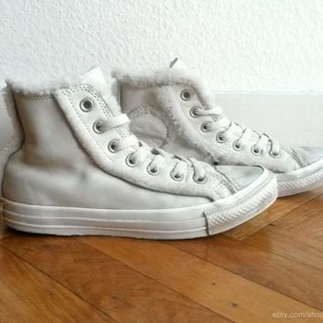 cream leather converse high tops lined trimmed with soft faux fur vintage all star