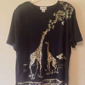 SUMMER SALE Vintage Alfred Dunner Black Giraffe Print Top Shirt Size Large