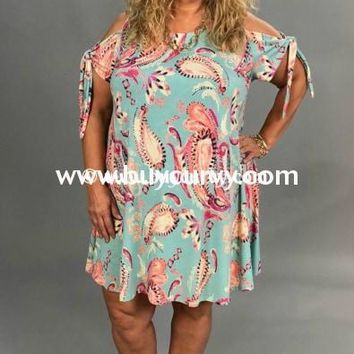 OS-B/Y Blue/Multi Paisley Print Dress or Tunic with Cold-Shoulder Tie Sleeve