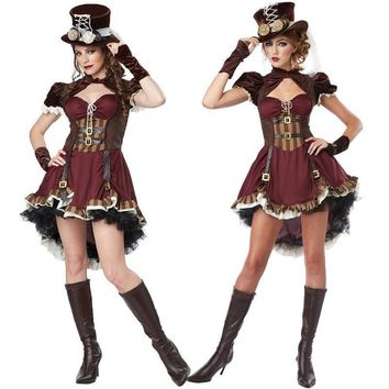 2015 New Adult Womens Sexy Halloween Party Circus Clown Costumes Outfit Fancy Steampunk Girl Cosplay Dresses Size M With Gloves