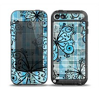 The Vibrant Blue Butterfly Plaid Skin for the iPod Touch 5th Generation frē LifeProof Case