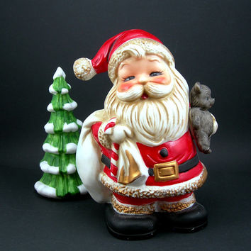 Vintage Santa Bank Figurine, Homco c1970, Ceramic Coin Bank, Piggy Bank, Santa Claus, Christmas Decor