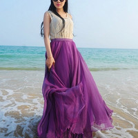 Purple Chiffon Maxi Skirt Long Sundress maternity Wear Holiday Maxi Dress Skirt Beach Skirt  honeymoon skirt