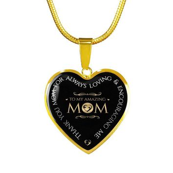 Amazing Mom Gold Luxury Heart Charm Necklace