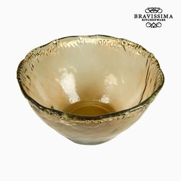 Recycled Glass Bowl Amber (37 x 37 x 20 cm) - Pure Crystal Deco Collection by Bravissima Kitchen