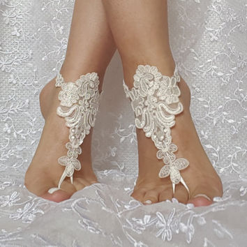 ivory beach sandal barefoot lace shoe beach wedding