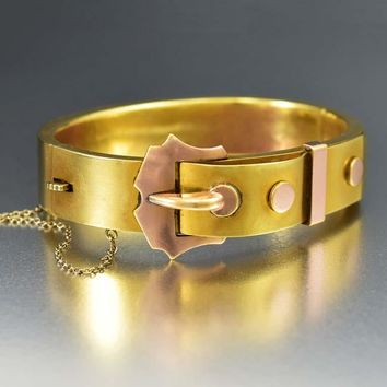 Perfect Rose & Yellow Gold Buckle Cuff Bracelet C.1890s