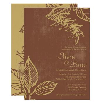 Brown & Gold Bay Leaves, Fall Wedding Invitations