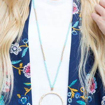 Circle & Bead Necklace in Aqua | Monday Dress Boutique