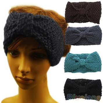 Winter Crochet Flower Bow Knitted Headwrap Headband Ear Warmer Hair Muffs Band = 1946971652