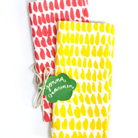 """Hundreds & Thousands"" Tea towel set - Red & Yellow"