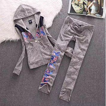 "Victoria's Secret ""PINK"" Letter Print Fashion Women Popular Sweater Casual Sportswear Two Piece Set Grey I"