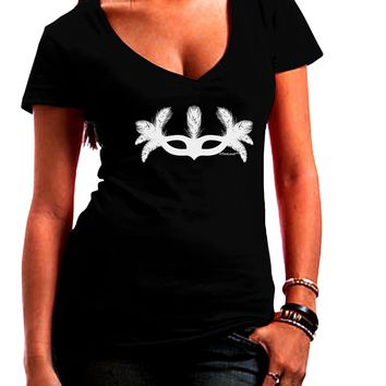 Masquerade Mask Silhouette Juniors V-Neck Dark T-Shirt by TooLoud