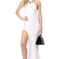 Top Notch Navy Gal White Maxi Dress