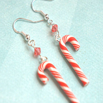 Candy Cane Dangle Earrings