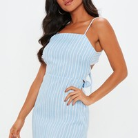 Missguided - Blue Stripe Strappy Tie Back A Line Dress