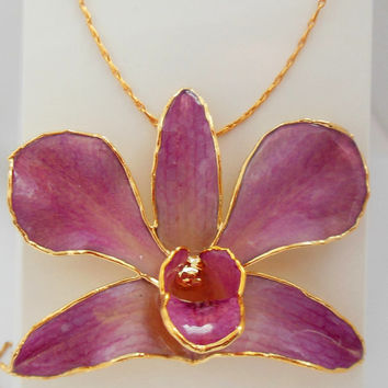 ON SALE Real Orchid Necklace Flower in Resin From Royal Orchid Collection