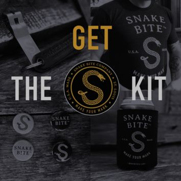 The Snake Bite Kit: Snake Bite Bottle Opener, Brand Shirt, Coozie, and Sticker Pack