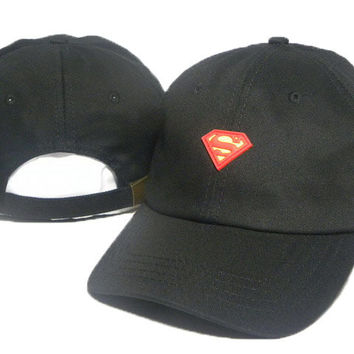 Black Superman Embroidered Baseball Cap Hat