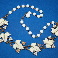 Vintage CORO CRAFT White Enamel Leaf necklace with Beads /  Vintage COROCRAFT Costume Jewellery.